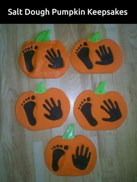 For Emilia's first halloween!  1 cup Salt 2 cups Flour 1 cup Water  Depending on thickness; Bake 350 degrees 45 - 2 hours (until dry) Paint with Acrylic Paints and seal with poly spray or sealant