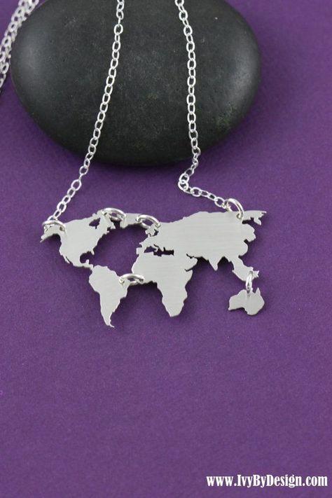 SALE  World Map Necklace  Globe Necklace  World by IvyByDesign