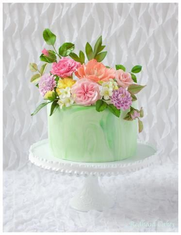 Flower Cake For Birthday Gum paste floral arrangement cake.