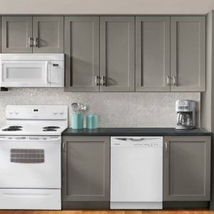 Light Gray Kitchen Cabinets With White Appliances Light Grey