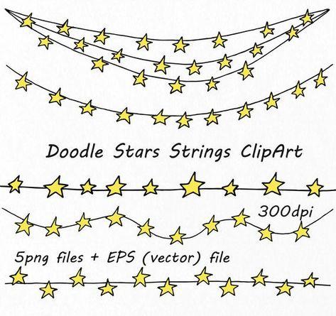 Photo of Doodle Sterne Saiten ClipArt, Stern Grenzen, Digital Sterne ClipArt, PNG, EPS, AI (Vektor) Dateien,