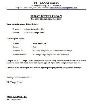 Contoh Surat Keterangan Berkerja Untuk Karyawan Surat Kerja Surat Pengantar