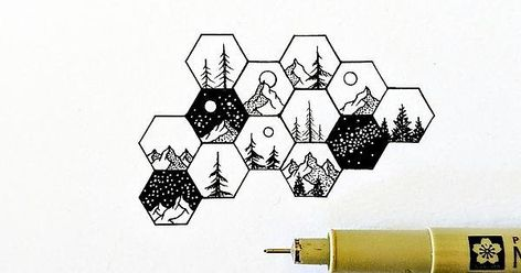 wanderlust doodles A bunch of tiny hexagon landscapes : doodles Easy Pen Drawing, Cool Art Drawings, Art Drawings Sketches, Doodle Drawings, Easy Drawings, Doodle Art, Sharpie Doodles, Pen Doodles, Hexagon Tattoo
