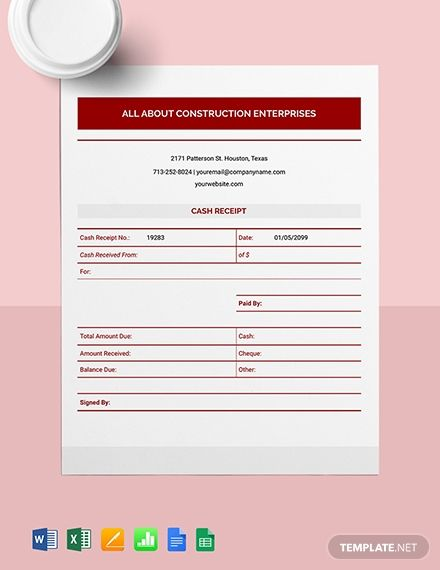 Instantly Download Construction Cash Receipt Template Sample Example In Microsoft Word Doc Microsof Receipt Template Financial Apps Free Receipt Template
