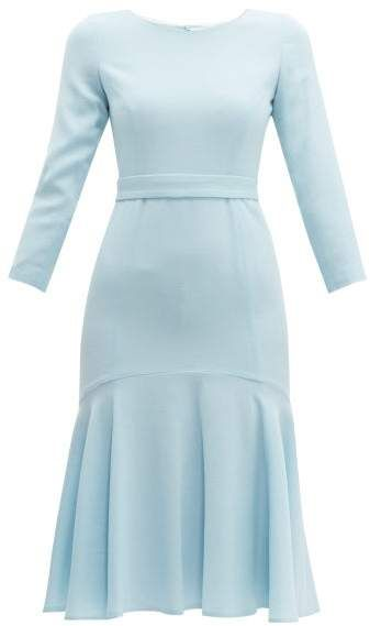 Goat Iris Fluted Wool Crepe Midi Dress - Womens - Light Blue