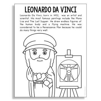 Leonardo Da Vinci Inventor Coloring Page Craft Or Poster Stem
