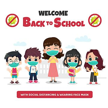 Back To School By Wearing A Mask Concept Png And Vector Kembali Ke Sekolah Kartun Ilustrasi Karakter