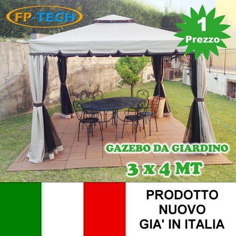 Gazebo Per Giardino Prezzi.Dettagli Su Gazebo 3x4 Giardino In Alluminio Telo Antipioggia Pvc