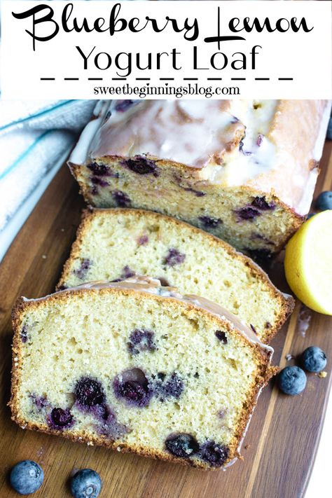 This Blueberry Lemon Yogurt Loaf is moist, sweet and tangy - full of big delicious blueberries and perfect for breakfast, a mid-day snack with coffee or tea, or dessert! #blueberry #lemon #yogurtloaf #sweetbread #dessert #SummerDessertWeek #SweetBeginningsBlog #dixiecrystals