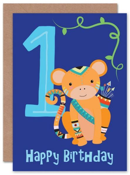 1 Kids Monkey Birthday Card Children S Card Birthday Card