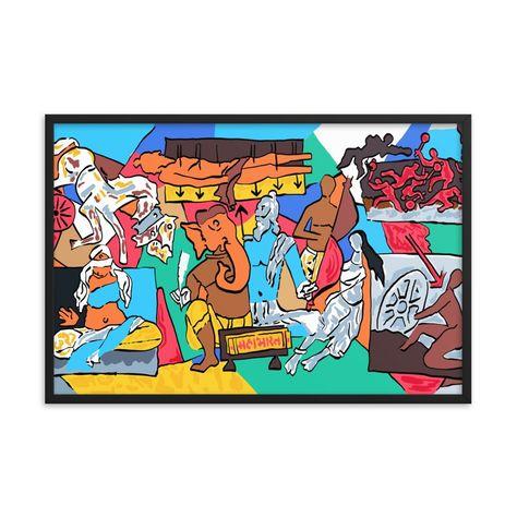 Digitized Mahabharat after M.F.Hussain Framed matte paper poster