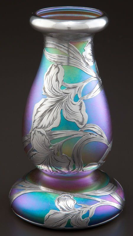 Cgmfindings Glass Vase With Silver Overlay Circa 1900 Alvin