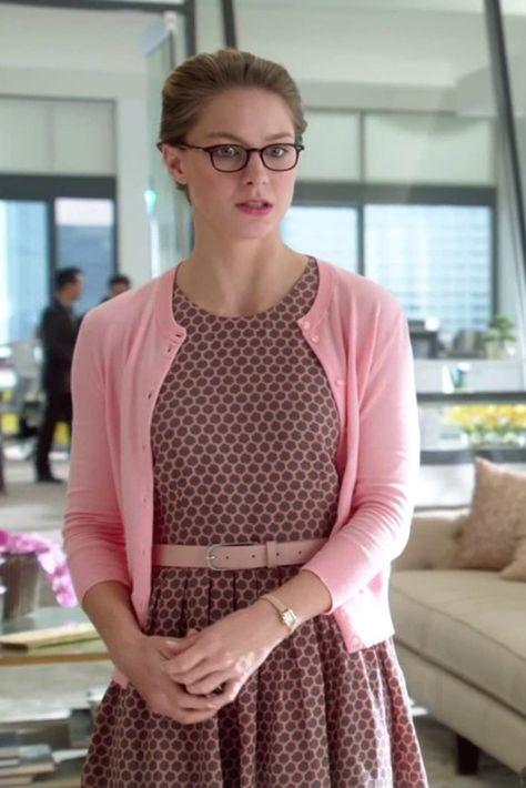 Kara Danvers / Supergirl wearing  J. Crew Biella Tassel Loafers, Kate Spade Tiny Hudson Vachetta Leather Strap Watch, L.A. Eyeworks Dap Frames in Tortoise, J. Crew Jackie Cardigan Sweater