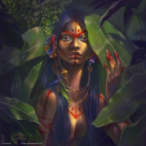 Keraná, the mother of the seven legendary monsters of the Guaraní mythology For Mitos y Leyendas TCG, Hijos del Sol edition. Kerana - Mitos y Leyendas TCG