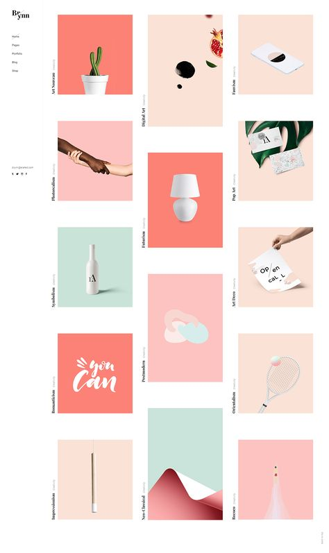 Choose one of the many portfolio templates for your presentation and craft a magnificent website today with Brynn WordPress theme.  #wordpress #theme #webdesign #design #creative #artist #designer #creativeagency #portfolio #creativestudio #designstudio #elegant #pastel