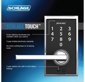 Schlage Touch Century Lock with Latitude Lever Aged Bronze FE695 CEN 716 LAT