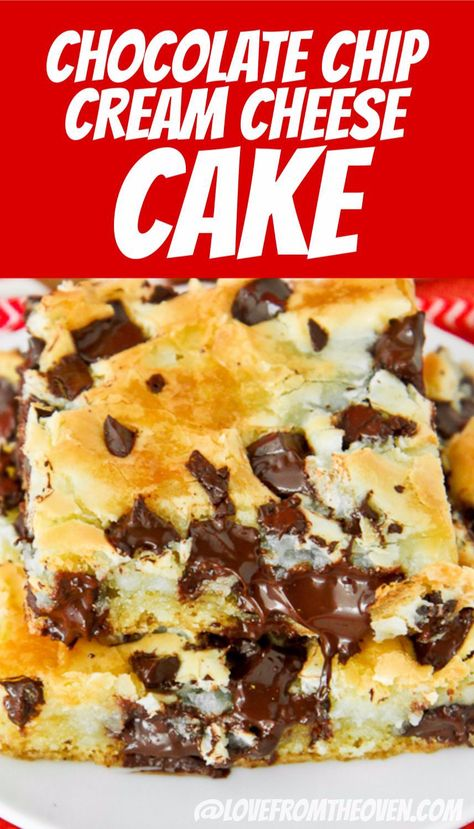 This Chocolate Chip Cream Cheese Cake is the perfect, rich, creamy, chocolatey dessert. Cheesecake lovers have to try this delicious cheesecake bar recipe. #cheesecakebar #creamcheesebar #chocolate #dessert #baking #recipes #barcookies