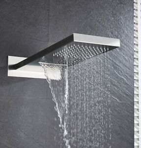 Brushed Nickel Brass Rainfall Shower Head Wall Mount Over Head Top