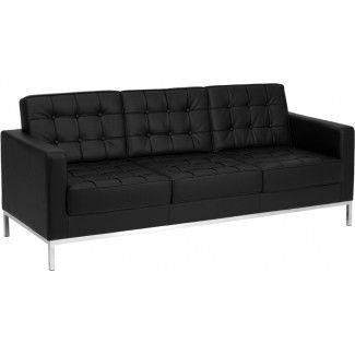 Fairfax Reception Sofa Contemporary Leather Sofa Black Leather