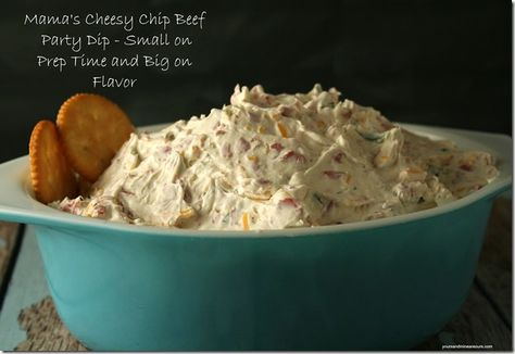 Our children will literally fight over this dip. They will hide it, sneak it, steal it from each other. *giggle* It's safe to say that they take this dip way too seriously or maybe not. - Mama's Cheesy Chip Beef Party Dip - YoursAndMineAreOurs.com