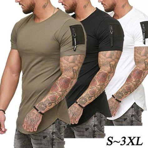 Casual Men Zipper sleeve Hip hop T-Shirt Tops SF – loveitbabe