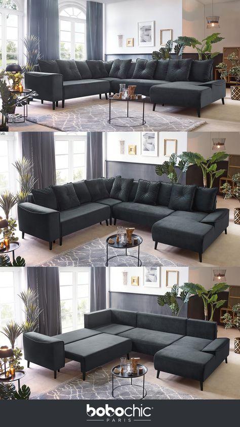 Canape Lit Hera Pas Cher Velours Gris Noir Anthracite Design Convertible Panoramique Deux Angles Xxl En 2020 Canape Lit Decoration Maison Canape Angle