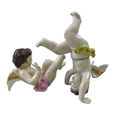 Dresden German Porcelain Aerobatic Tumbling Angels Cherubs - k che gebraucht dresden