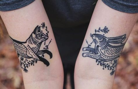 Fox and hare tattoos by David Hale Coyote Tattoo, Deer Tattoo, Raven Tattoo, Tattoo Ink, Armor Tattoo, Black Tattoos, Body Art Tattoos, Hand Tattoos, Tree Tattoos