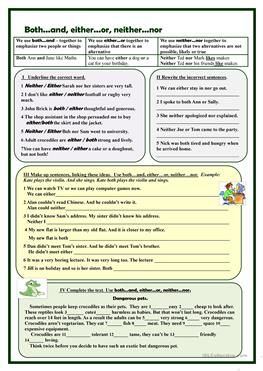 Both And Either Or Neither Nor Exercises Conjunctions Worksheet Correlative Conjunctions English Grammar Worksheets