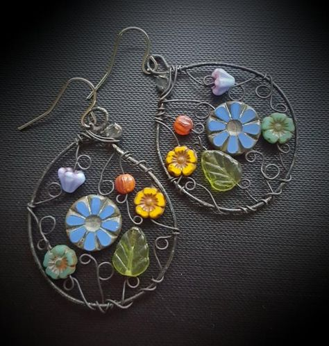Your place to buy and sell all things handmade Wire Wrapped Jewelry, Wire Jewelry, Boho Jewelry, Jewlery, Long Tassel Earrings, Wire Earrings, Mixed Media Jewelry, Soutache Jewelry, Beads And Wire