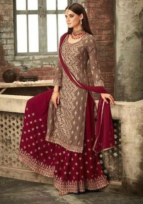 74430fe0cf4 Anarkali Lehenga Indian Sharara Designer Bollywood Wedding Party Wear Eid  dress
