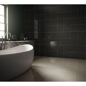 152423 Wickes Norton Ivory Porcel Bathroom Wall Tile Black Wall Tiles Large Bathrooms