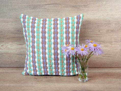 Lilac Mint Striped Crochet Pillow Cover Pastel Color Cotton Throw Pillow Case 16 X 16 Inch 41 X 41 Trendy Pillow Cotton Throw Pillow Crochet Pillow Cover