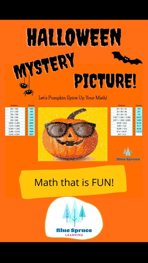 Halloween Math Mystery Picture!