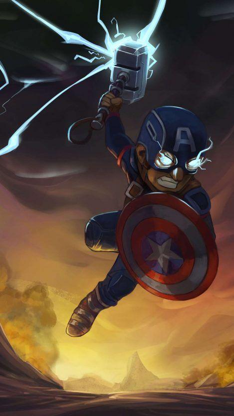 Captain America Thor Hammer Iphone Wallpaper Captain America Wallpaper Avengers Wallpaper Marvel Wallpaper Hd