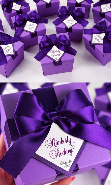 Elegant Purple wedding boxes with satin ribbon bow and custom names, Personalized bonbonniere for gifts and favors for guests. Chic wedding welcome box to thank guests for attending your special day. #giftboxes #personalizedgift #weddingfavour #weddingfavor #weddingboxes #favorboxes #candybox #bonbonniere #weddingparty #weddingdecor #elegantwedding #customdesign #giftboxideas #sweetlove #purplewedding #favorboxes #weddingfavorideas #purpleweddingfavor #lavenderwedding