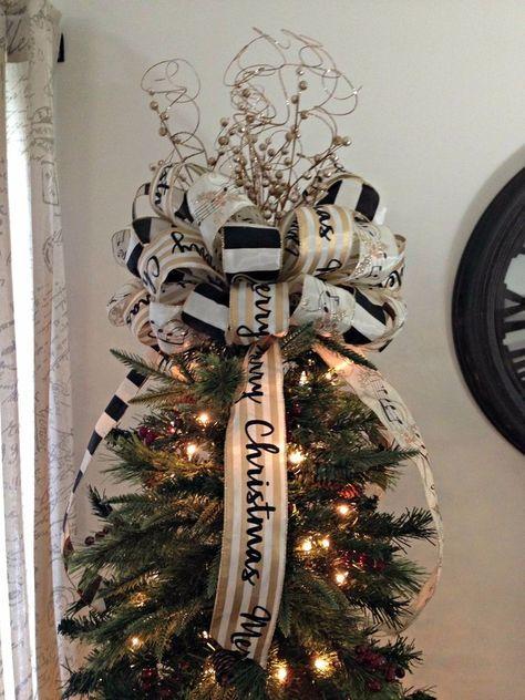 44 Ideas Diy Christmas Bows Ribbon Tree Toppers Diy Christmas Tree Topper Christmas Tree Bows Diy Christmas Tree