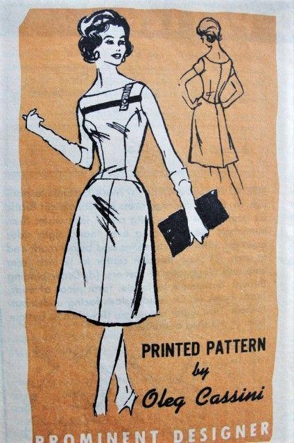 0c50b58ed92 1960s ALLURING Oleg Cassini Cocktail Party Dress Pattern PROMINENT Designer  631 Flattering Bateau Neckline Lower Waist Flared Skirt Bust 34 Vintage  Sewing ...