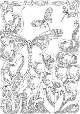 Entangled Dragonflies Coloring Pages Pinforlater Dragonfly