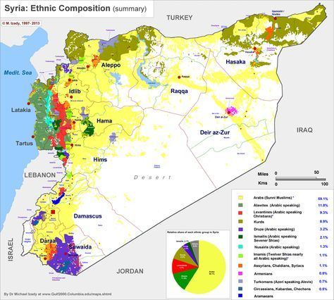 Map of Syria\'s ethnic distribution. | Map, Historical maps ...