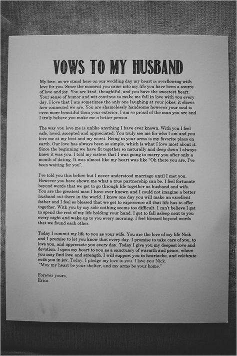 Romantic wedding idea. Vows to my husband. To be posted at venue.