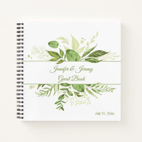 Wildwood Botanical Rustic Greenery Guest Book Zazzle Com