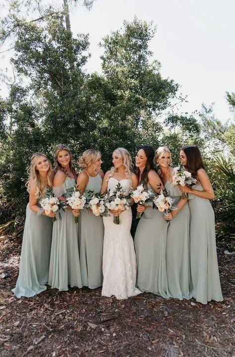 Bridesmaid Dresses Under 100, Mint Green Bridesmaid Dresses, Bridesmade Dresses, Dresses Dresses, Rustic Bridesmaid Dresses, Different Bridesmaid Dresses, Burgundy Bridesmaid, Bridesmaid Ideas, Sage Dresses