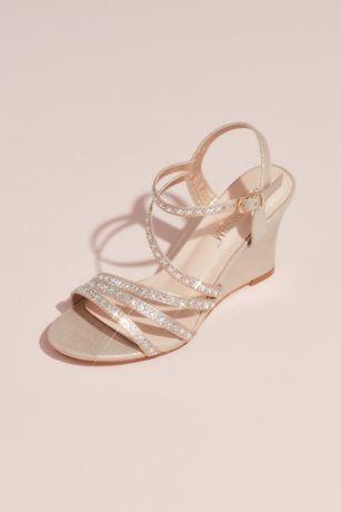 David's Bridal Triple Strap Block Heel Sandals with Crystals Style Striking