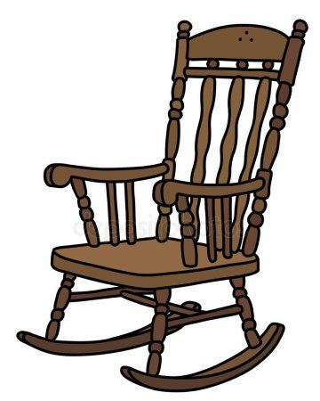 Vectorized Hand Drawing Old Wooden Rocking Chair Stock Vector