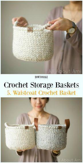 Waistcoat Crochet Basket Free Pattern - Storage #Basket; Free #Crochet; Patterns - make your own basket - crochet ideas - storage ideas