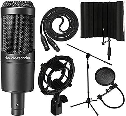 Audio Technica At2035 Cardioid Condenser Microphone With Xlr Cable Audio Technica At8458 Shockmount Isolation Shield As An Am Microphone Audio Technica Audio
