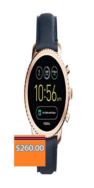 Fossil Q Men S Gen 3 Explorist Stainless Steel And Leather Smartwatch Color Rose Gold Tone Blue Model Ftw4002 Price 260 00 In 2020 Leather Fossil Clothes