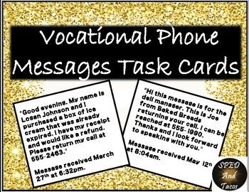 Taking Phone Messages-Vocational Task Cards | SPED And Tacos