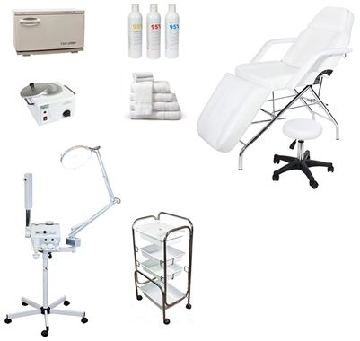 Econo Spa Equipment Package Aroma Ozone Steamer W Brush Magnifier Lamp Basic Facial Chair And Massage Bed Hydraulic Stool 12 Piece Uv Hot Towel Cabinet Skin Care Equipment Massage